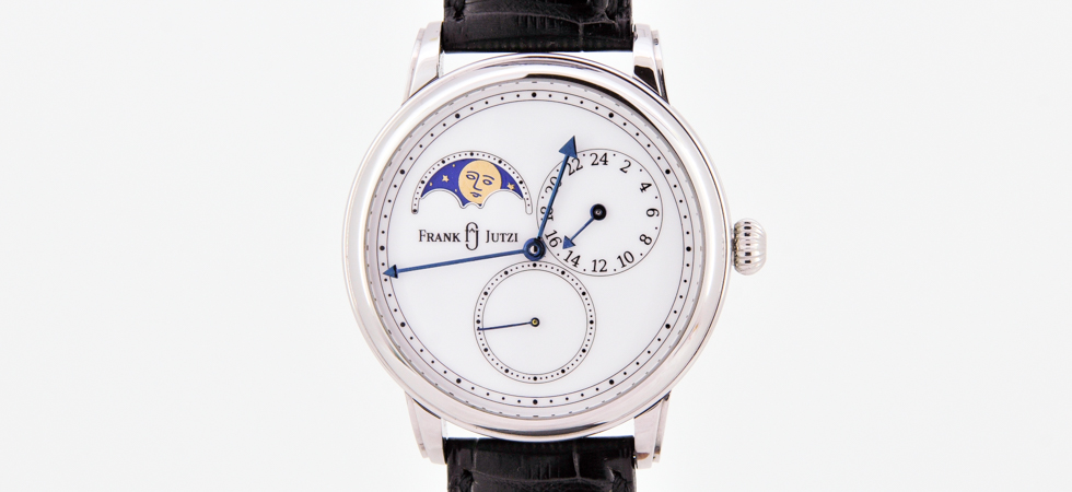 Wrist watch with lunar phase, small seconds and second time zone