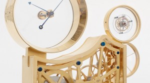 Table clock with scelettonised movement and mysterious tourbillon