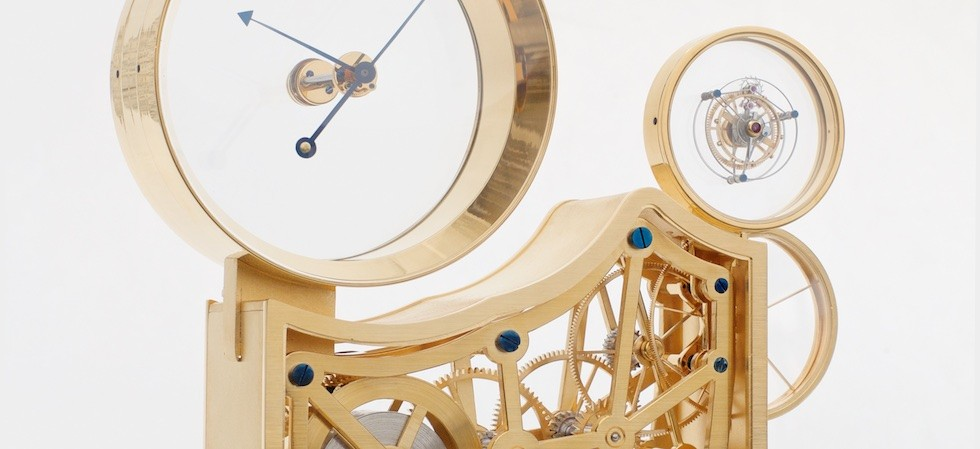 Table clock with mysterious tourbillon, skeleton movement and mysterious hands
